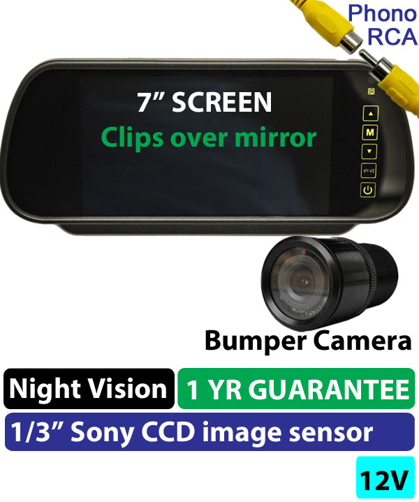 "(KIT BG109) 7"" Clip-On Mirror Monitor + 1/4"" Sony CCD Bumper Reversing Camera"