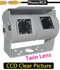 "|CAM31| Twin Lens White Bracket Camera -  2 x 1/3"" Sharp CCD Sensors - Cables 5-20M selectable in product details"
