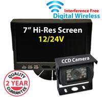 "DW1001 - Digital Wireless Interference Free 12/24V System- 7"" Dash Monitor and 1/3"" Sharp CCD Bracket Camera"