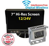 "DW1002 - Digital Wireless Interference Free 12/24V System- 7"" Dash Monitor and 1/3"" Sharp CCD White Bracket Camera"