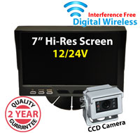 "DW1005 - Digital Wireless Interference Free 12/24V System- 7"" Dash Monitor and 1/3"" Sony CCD White Bracket Camera"