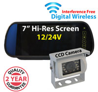 "DW3002 - Digital Wireless Interference Free 12/24V System- 7"" Clip on Mirror Monitor and 1/3"" Sharp CCD White Bracket Camera"