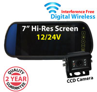 "DW3004 - Digital Wireless Interference Free 12/24V System- 7"" Clip on Mirror Monitor and mini 1/3"" Sony CCD Bracket Camera"
