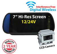 """DW3005 - Digital Wireless Interference Free 12/24V System- 7"""" Clip on Mirror Monitor and mini 1/3"""" Sony CCD Bracket Camera"""