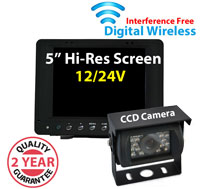 "DW4001 - Digital Wireless Interference Free 12/24V System- 5"" Dash Monitor and 1/3"" Sharp CCD Bracket Camera"