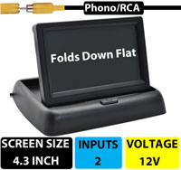 """(MON6) 4.3"""" Pop-Up Screen - Can be hidden when not in use - 2 Camera Inputs"""