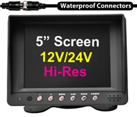 "(MON9) 5"" High Res 12/24V Monitor Heavy Duty Monitor with Sunshade - Monitor powers cameras"