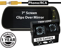 "SYS130 - 7"" Clip-On Mirror Monitor + Twin Lens Sony 1/4"" CCD Sensors Black Bracket Reversing Camera"