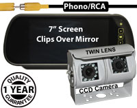 "SYS131 - 7"" Clip-On Mirror Monitor + Twin Lens Sony 1/4"" CCD Sensors White Bracket Reversing Camera"