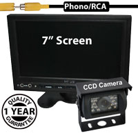 "SYS210 - 7"" Stand On-Dash Monitor + 1/3"" Sharp CCD Bracket Reversing Camera"