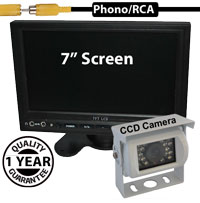 "SYS211 - 7"" Stand On-Dash Monitor + 1/3"" Sharp CCD White Bracket Reversing Camera"