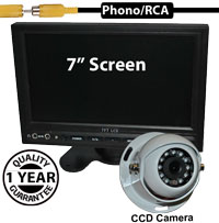 "SYS212 - 7"" Stand On-Dash Monitor + 1/3"" Sharp CCD White Dome Reversing Camera"