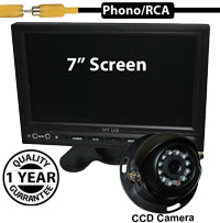 "SYS214 - 7"" Stand On-Dash Monitor + 1/3"" Sharp CCD Black Dome Reversing Camera"