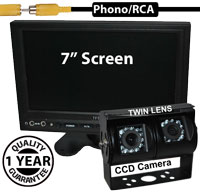 "SYS230 - 7"" Stand On-Dash Monitor + Twin Lens 1/4"" Sony CCD Sensors Black Bracket Reversing Camera"