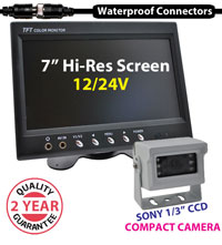 "(KIT-PM26W) 1 Camera 12/24V System with 7"" Monitor and 1/3"" Sony CCD white Compact Camera - 10/15/20M Screw Cables"
