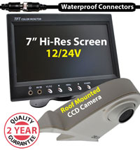 "(KIT-PM27W) 1 Camera 12/24V System with 7"" Monitor and 1/4"" Sharp CCD Roof Mounted Camera - 10/15/20M Screw Cables"