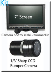 "SYS209 - 7"" Stand On-Dash Monitor + 1/3"" Sharp CCD Bumper Reversing Camera"