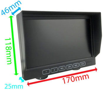 7 inch rear view dash monitor dimensions