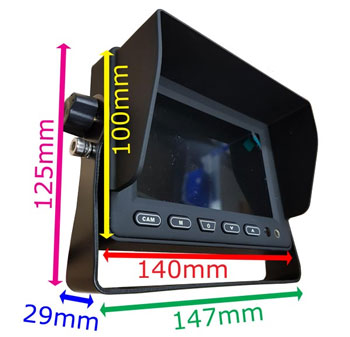 5 inch rear view dash monitor dimensions